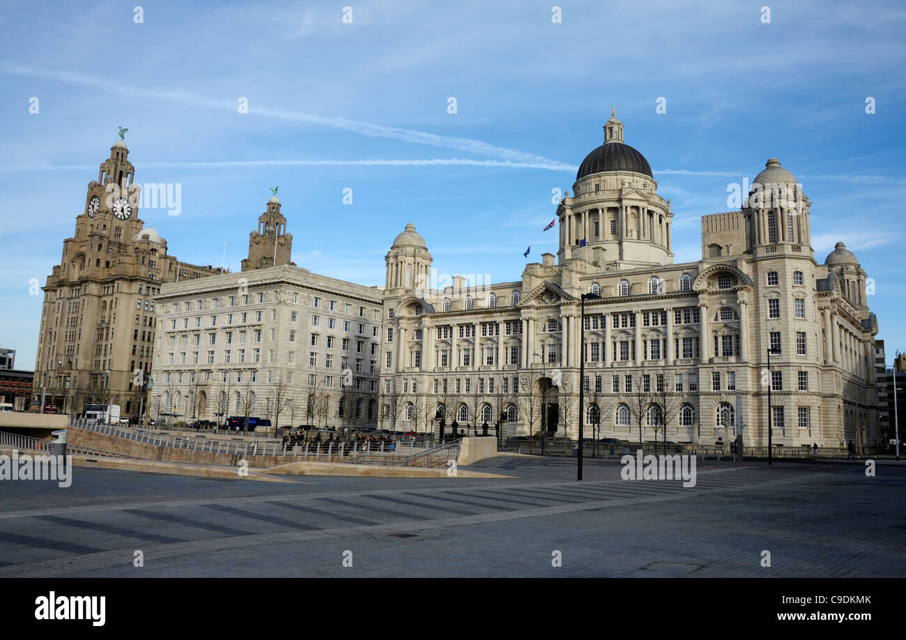 The Royal Liver Building, the Cunard Building and the Port of Liverpool Building, Liverpool, Britain, UK - Stock Image