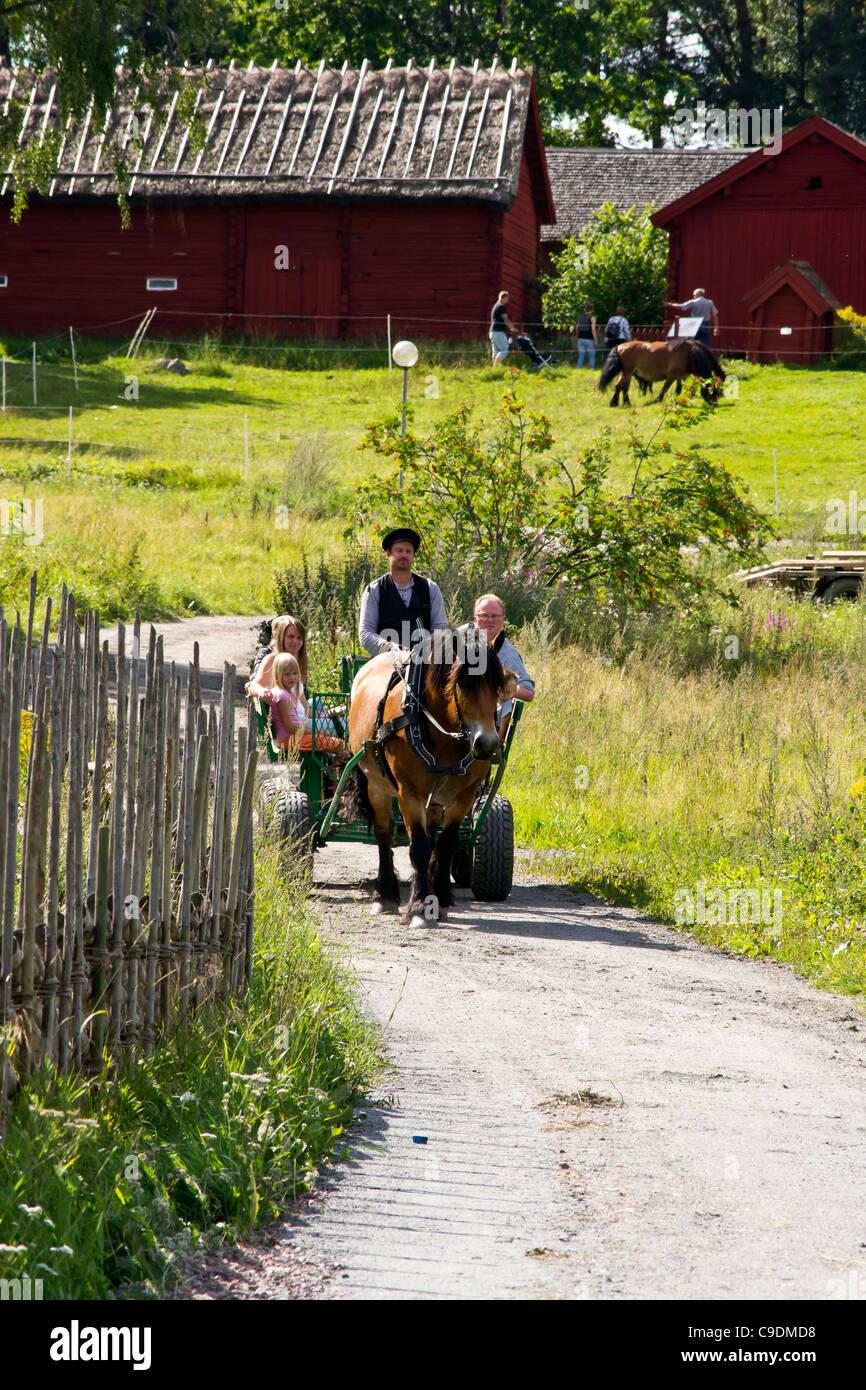 Horseride at the Open Air Museum, Västerås,Vasteras, sweden - Stock Image