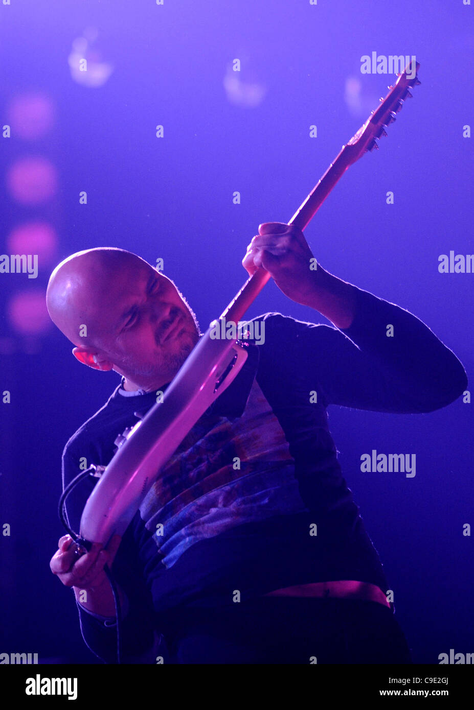 Billy Corgan, vocalist and lead guitarist of the alternative rock band The Smashing Pumpkins, during a concert held - Stock Image