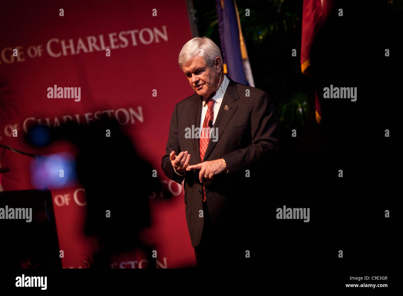 Republican presidential candidate Newt Gingrich at a townhall meeting at the College of Charleston on November 28, - Stock Image