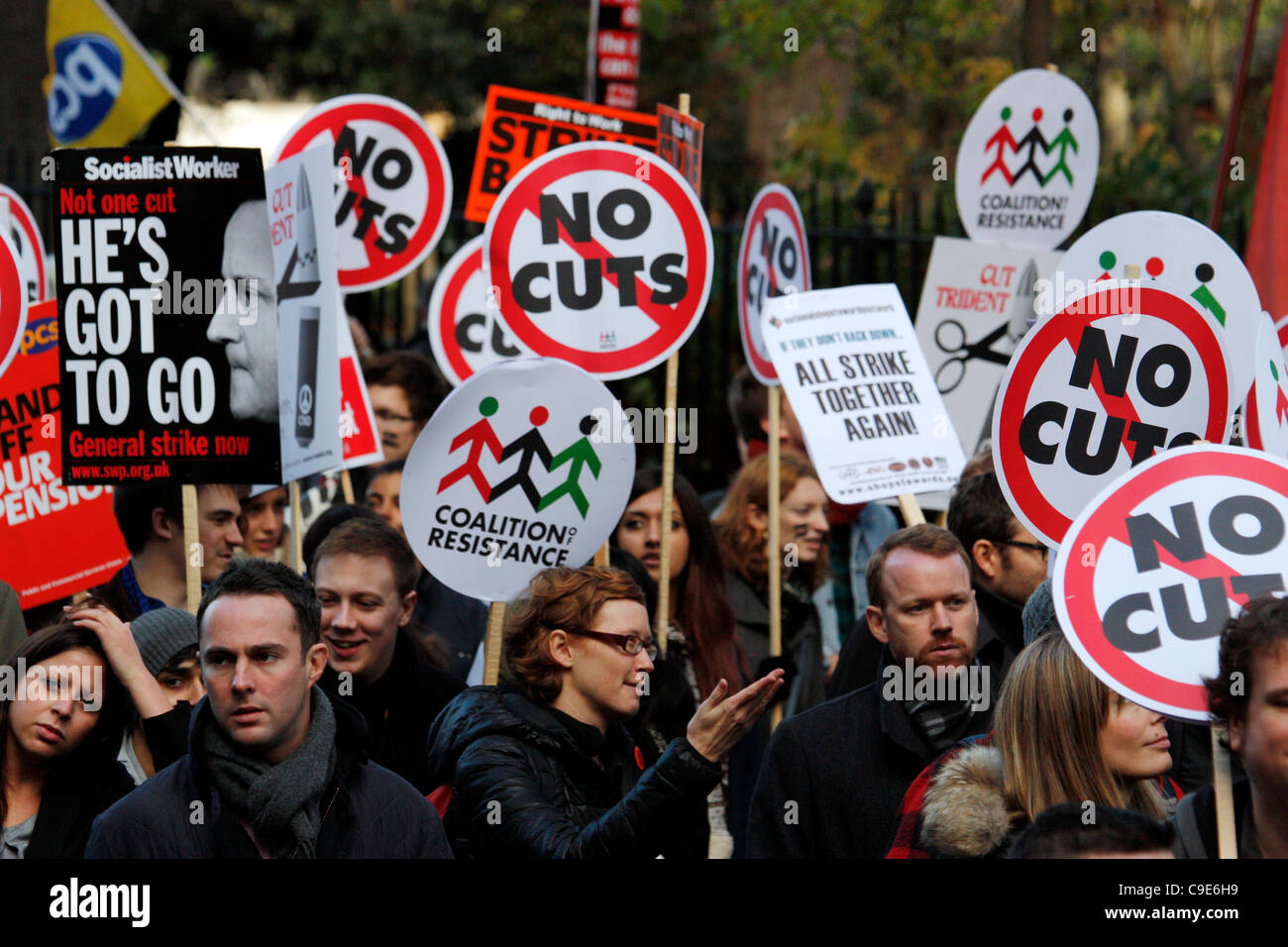 Lincolns inn field Holborn, London, UK, 30/11/2011, protestors in London, London was hit today  by public sector - Stock Image