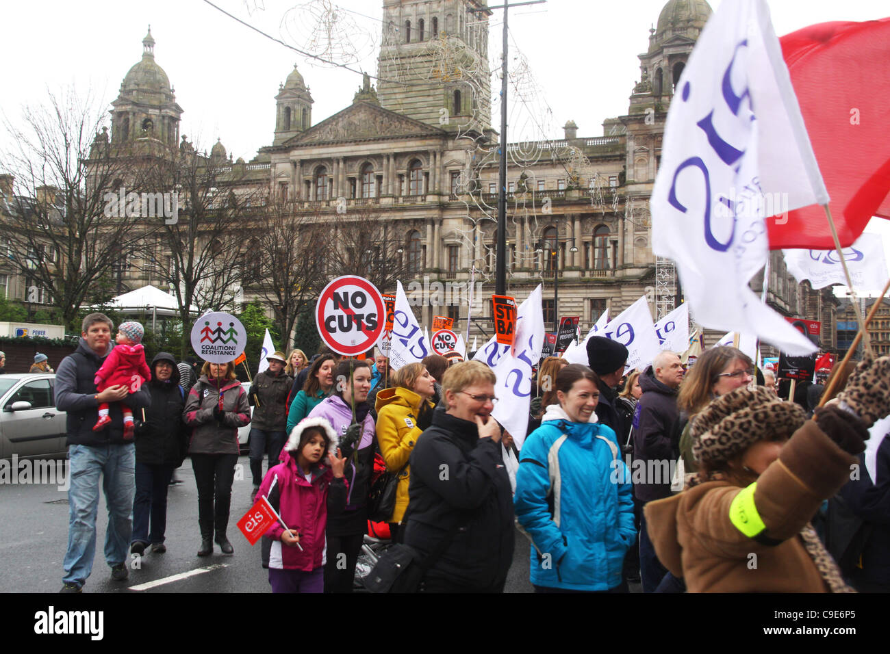 30/11/11 Day of action Glasgow.  Public service unions protest against pension reforms. - Stock Image