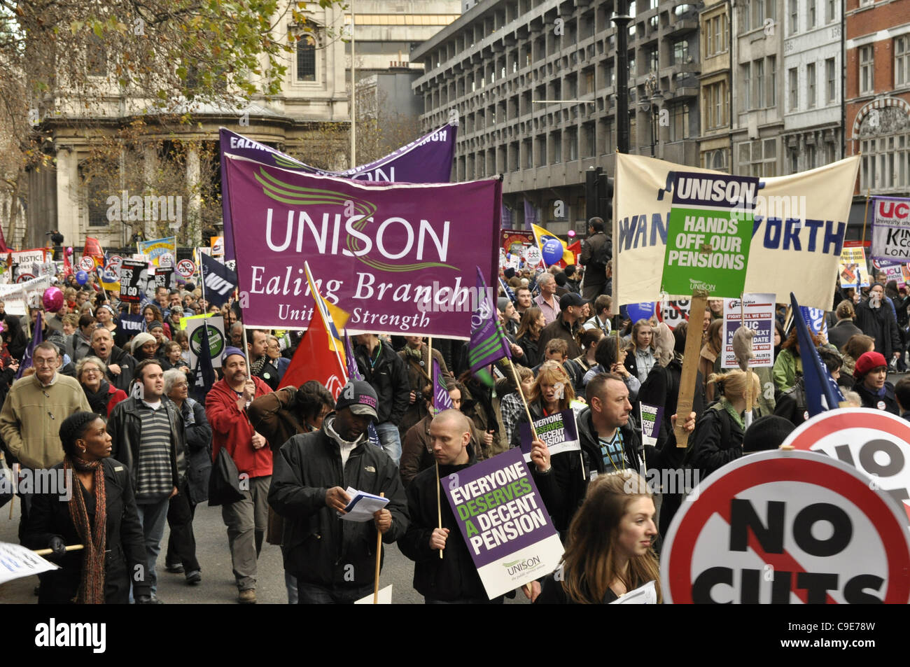 London, UK, 30/11/2011 Strikers march and protest against public sector cuts in London in one of the biggest industrial - Stock Image