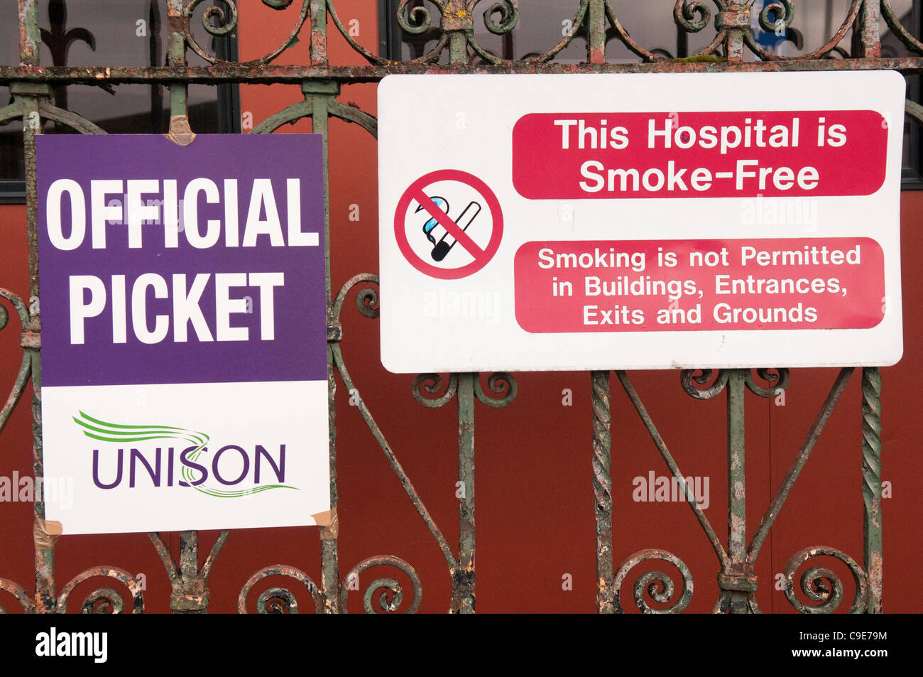 Posters outside the Mater Hospital as workers form a picket line during a one-day public sector strike. BELFAST - Stock Image