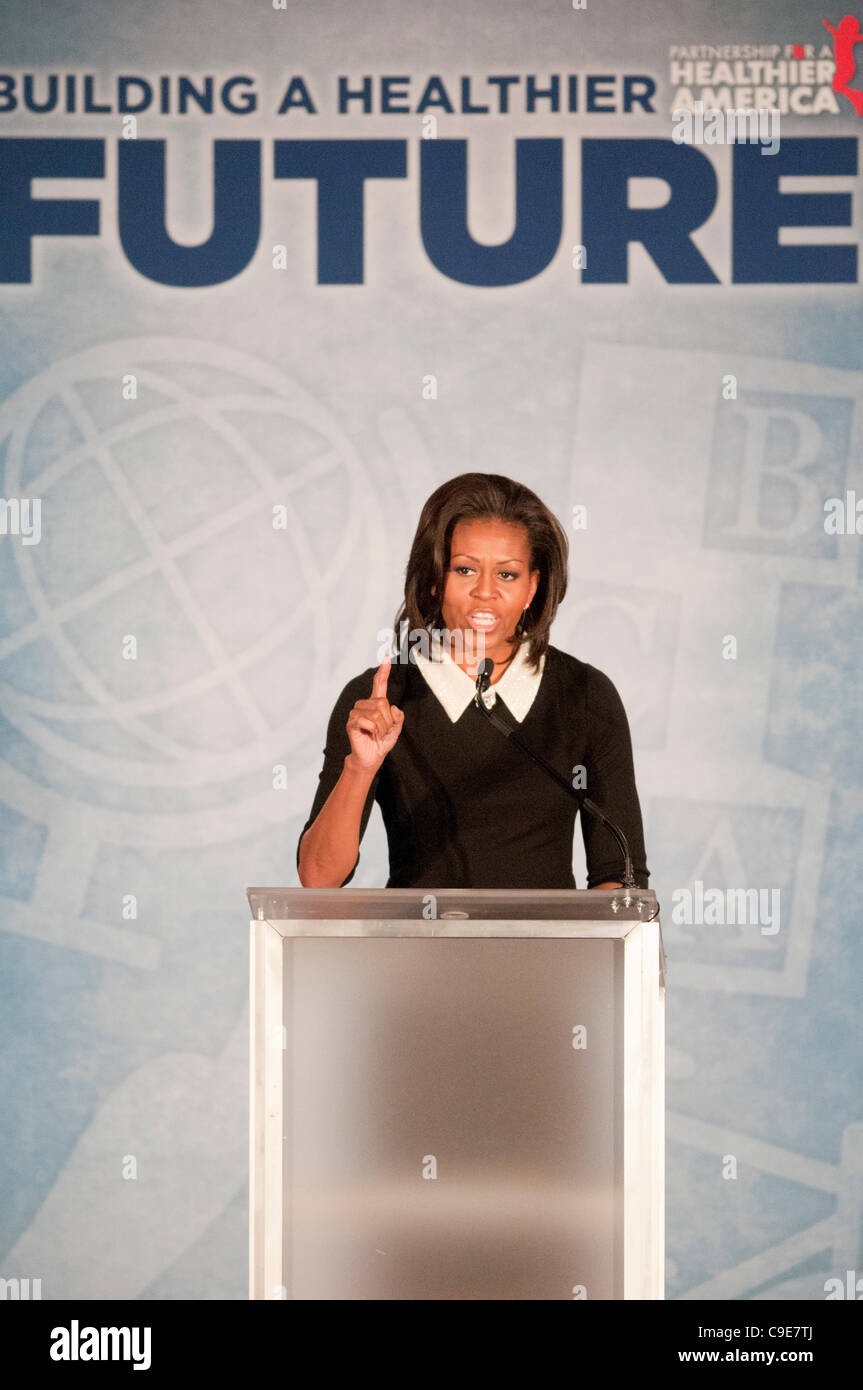 First Lady Michelle Obama delivers the keynote address at the Partnership for a Healthier America's Building - Stock Image