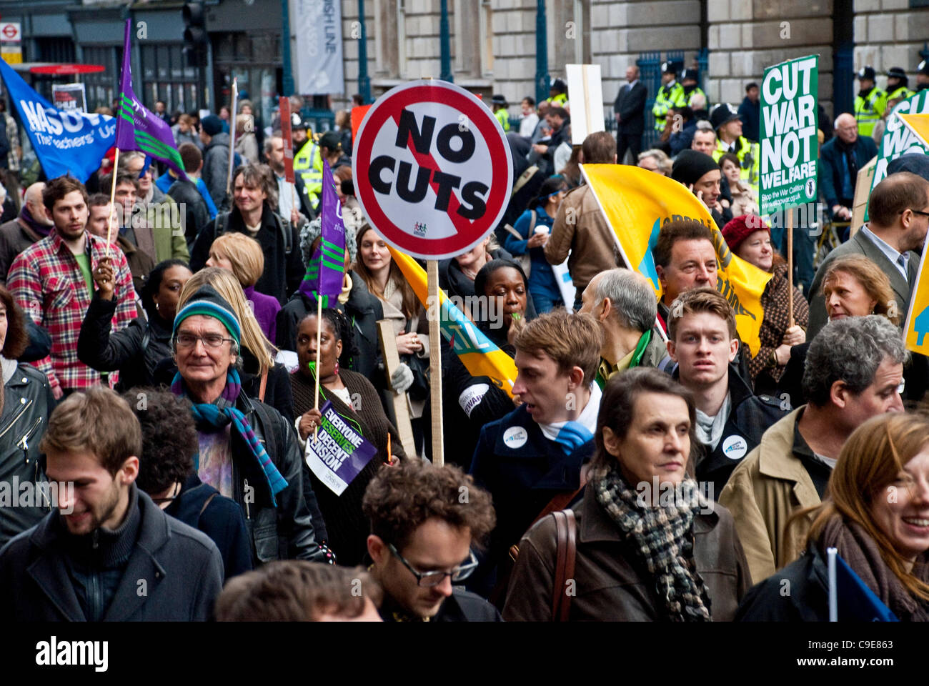 London, UK, 30th Nov, 2011. Thousands of striking public sector workers march through the streets of London in protest - Stock Image