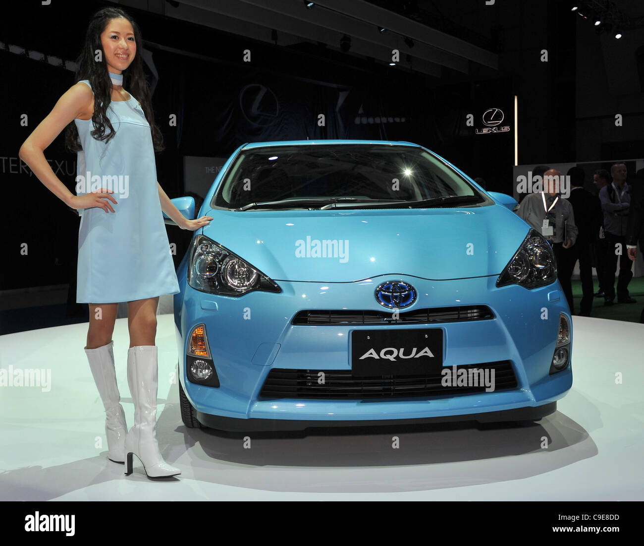 November 30, 2011, Tokyo, Japan - Toyota introduces Aqua, its smallest hybrid vehicle, to tap demand among younger - Stock Image