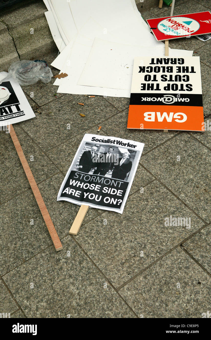 Belfast, UK. 30th Nov, 2011, Discarded placards at the Public Sector workers strike in Belfast City Centre. An estimated - Stock Image