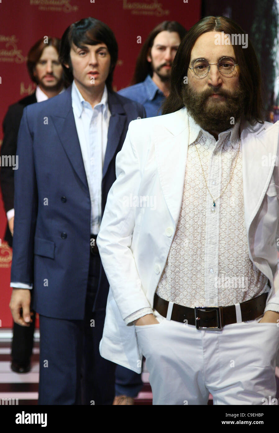 RINGO STARR & GEORGE HARRISON & PAUL MCCARTNEY & JOHN LENNON THE BEATLES WAX FIGURES UNVEILING HOLLYWOOD - Stock Image