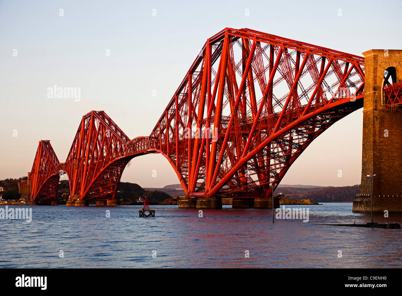 Forth Rail Bridge 09 December 2011 repainting and refurbishment now complete, South Queensferry, Scotland UK Europe Stock Photo