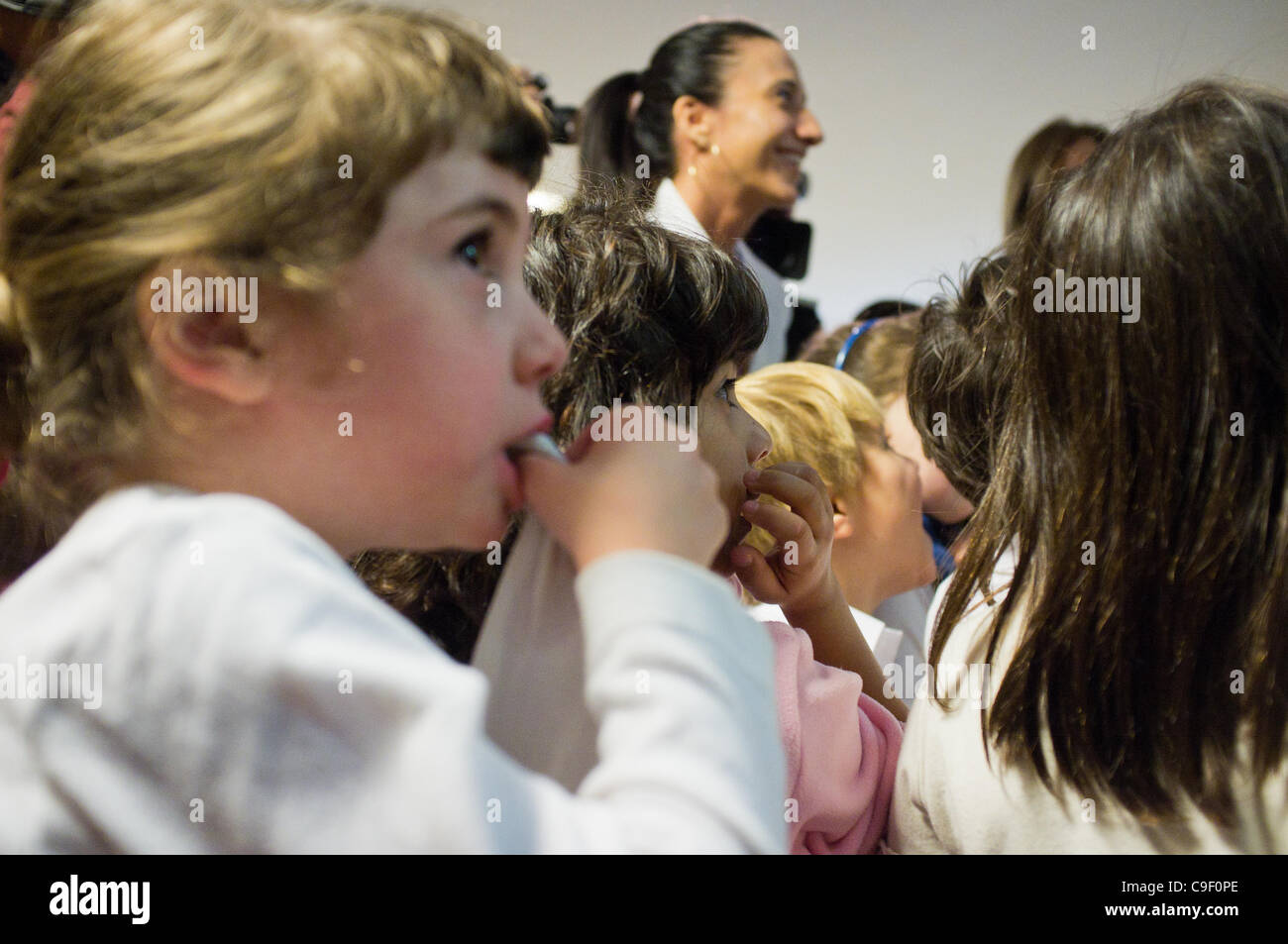 Speaker of the Knesset Reuven Rubi Rivlin and Minister of Education Gideon Saar interact with kindergarten children - Stock Image