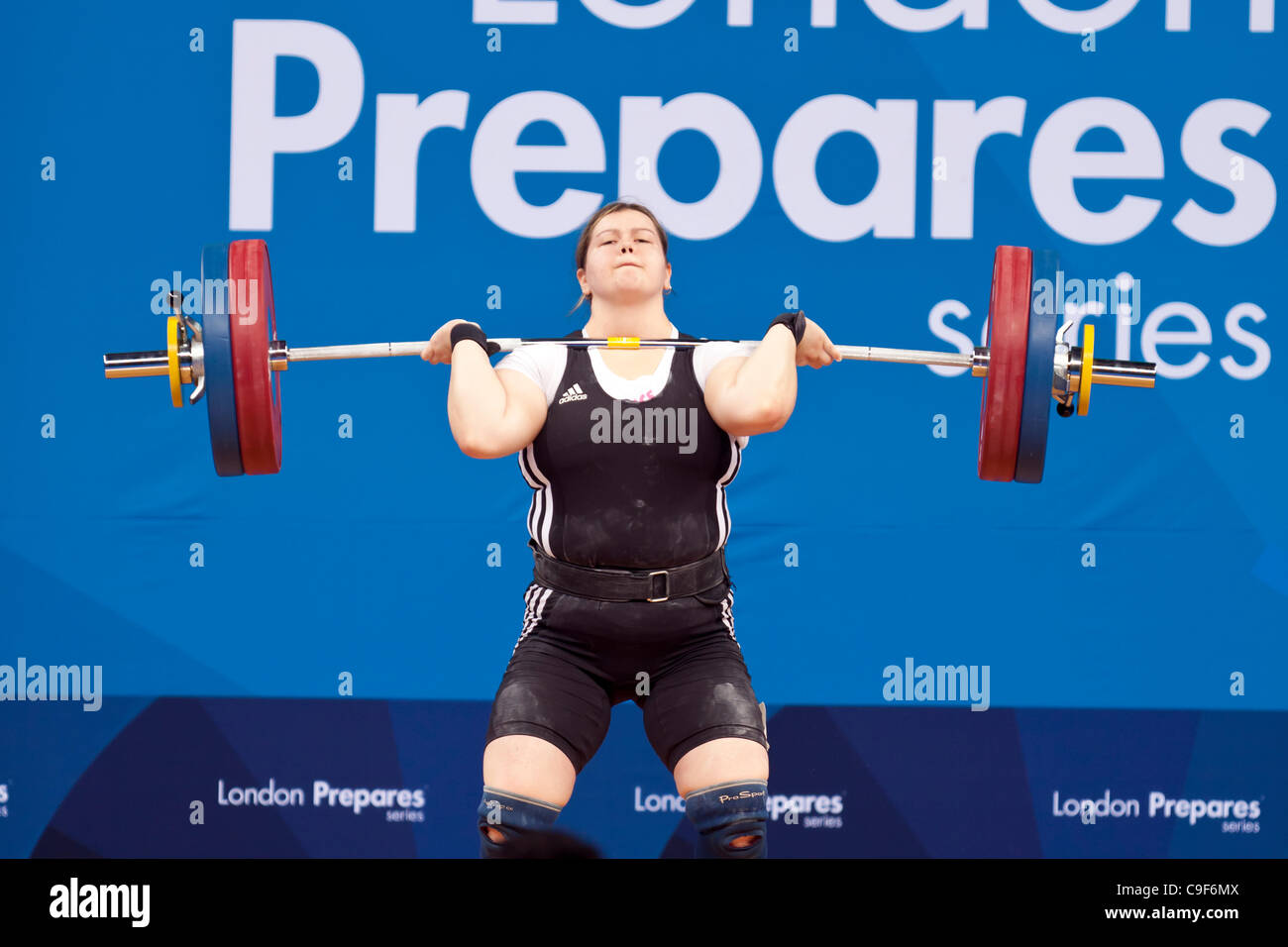 Krisztina MAGAT of Hungary Competing in the Group B, Women's +75kg, London Prepares Weightlifting International - Stock Image