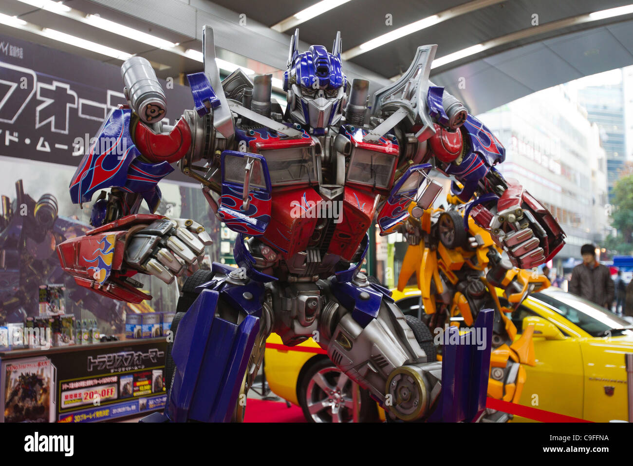 dec 15, 2011, tokyo, japan - a large scale figure of optimus prime
