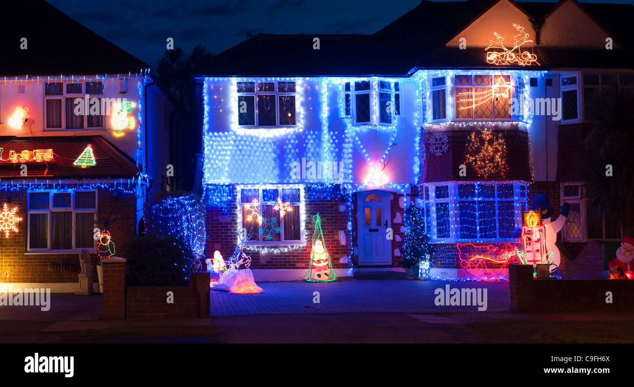Semi Detached Houses Decorated With Christmas Lights In