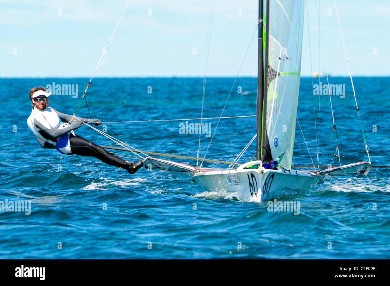 16.12.2011. Perth, Australia. Noe Delpech (FRA) and Julien D'ortoli (FRA) competes in the 49er men's skiff - Stock Image