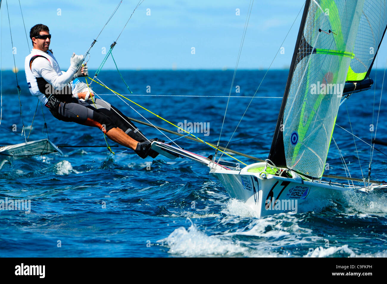 16.12.2011. Perth, Australia. Yann Rocherieux (FRA) and Mathieu Frei (FRA) competes in the 49er men's skiff - Stock Image