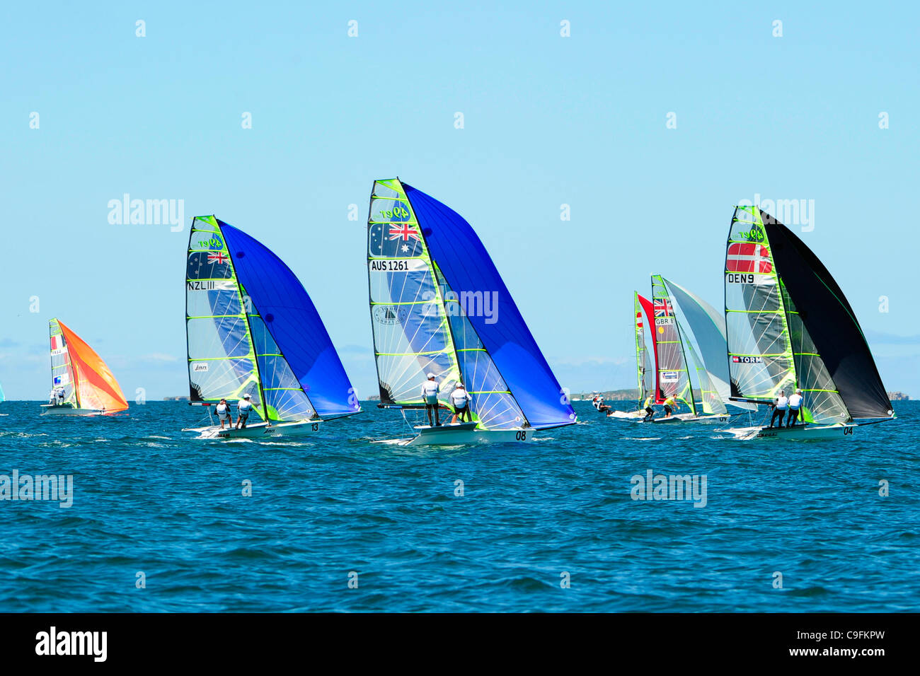 16.12.2011. Perth, Australia. Teams compete in the 49er men's skiff race on the fourteenth day of the ISAF World - Stock Image