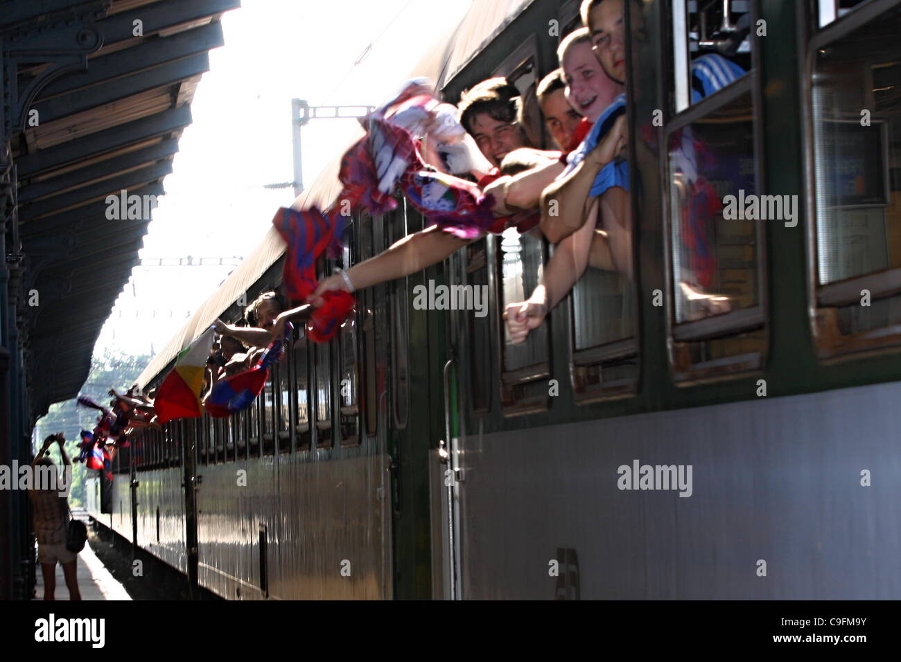 ***FILE PHOTO***Fans of FC Viktoria Plzen at the Main Station Pilsen ahead of departure for second leg play-off - Stock Image