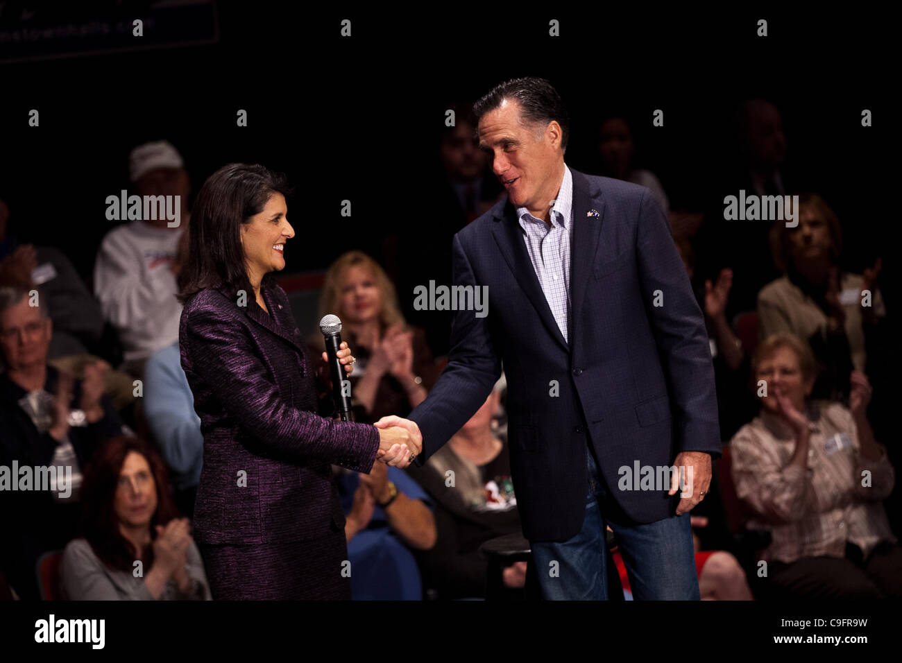 Republican presidential candidate Gov. Mitt Romney with Gov. Nikki Haley during a town hall meeting on December - Stock Image