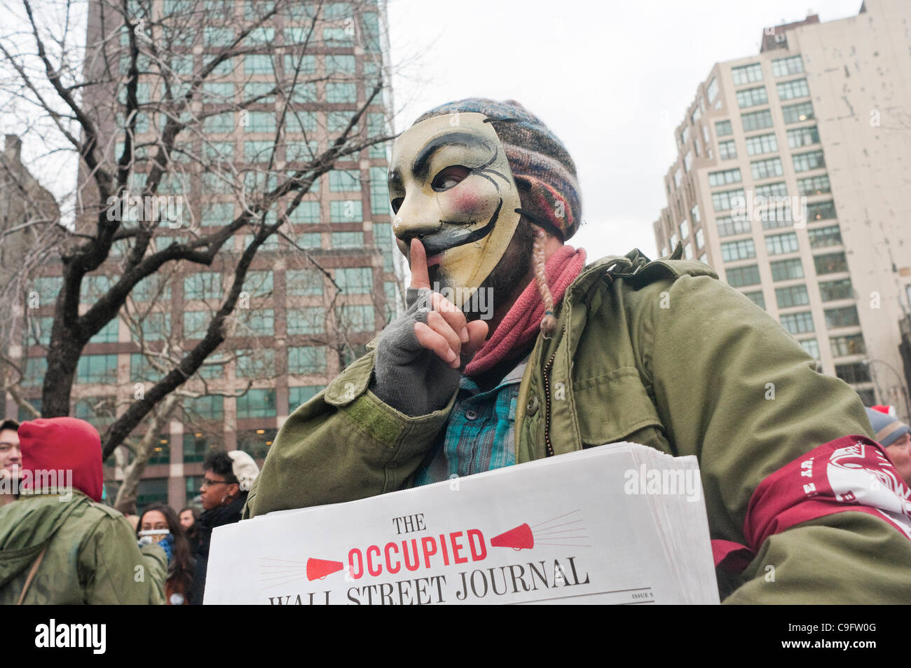 New York, NY - December 17 - Occupy Wall street protesters launched Occupy 2.0, marking their three month anniversary - Stock Image