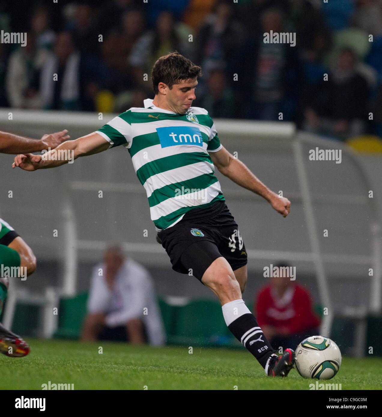 Portugal Cup Quarter final - Sporting CP (SCP) x SC Maritimo (SCM)  Insua Sporting Clube Portugal Defender shooting Stock Photo