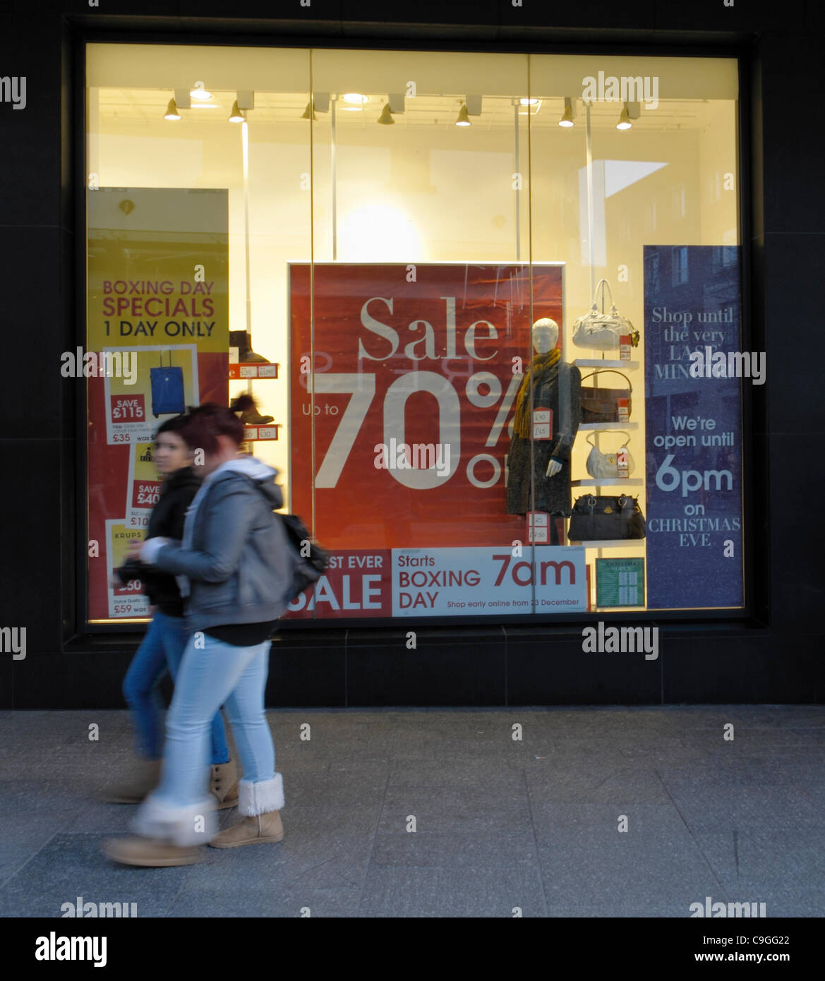 24 December 2011 Exeter UK Debenhams store ready for start of sales on Boxing Day - Stock Image
