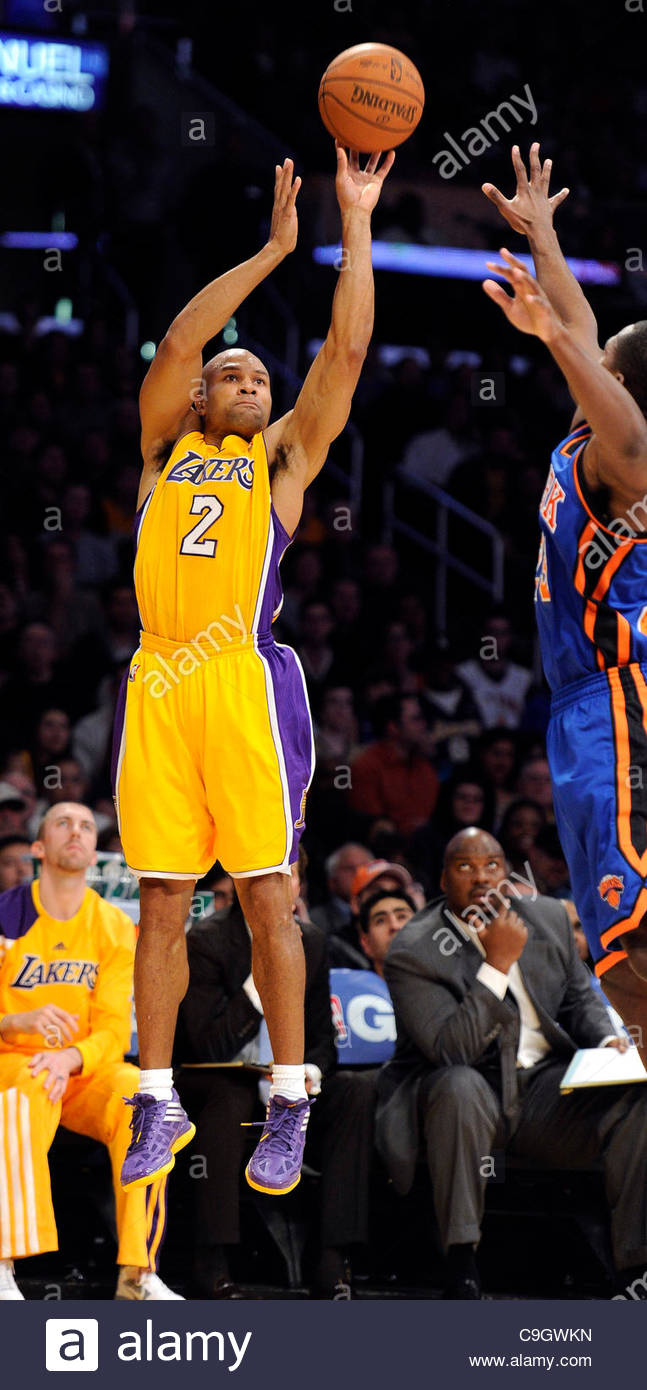 c47ac8b3225 The Lakers  Derek Fisher (2) shoots during their game against the Knicks at  the Staples Center in Los Angeles Thursday