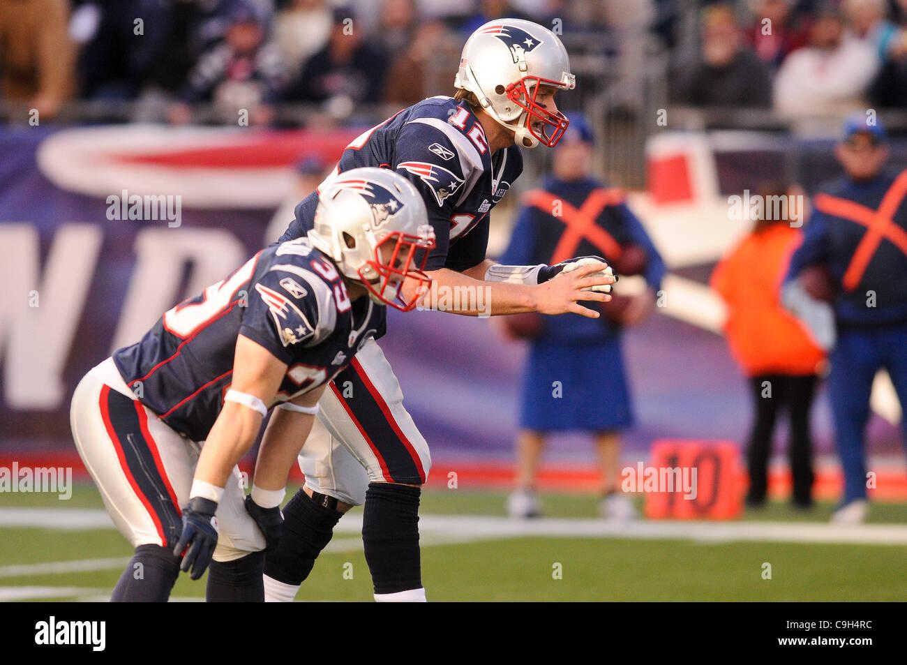 Jan. 1, 2012 - Foxborough, Massachusetts, U.S - New England Patriots QB Tom Brady (12) and RB Danny Woodhead (39) - Stock Image