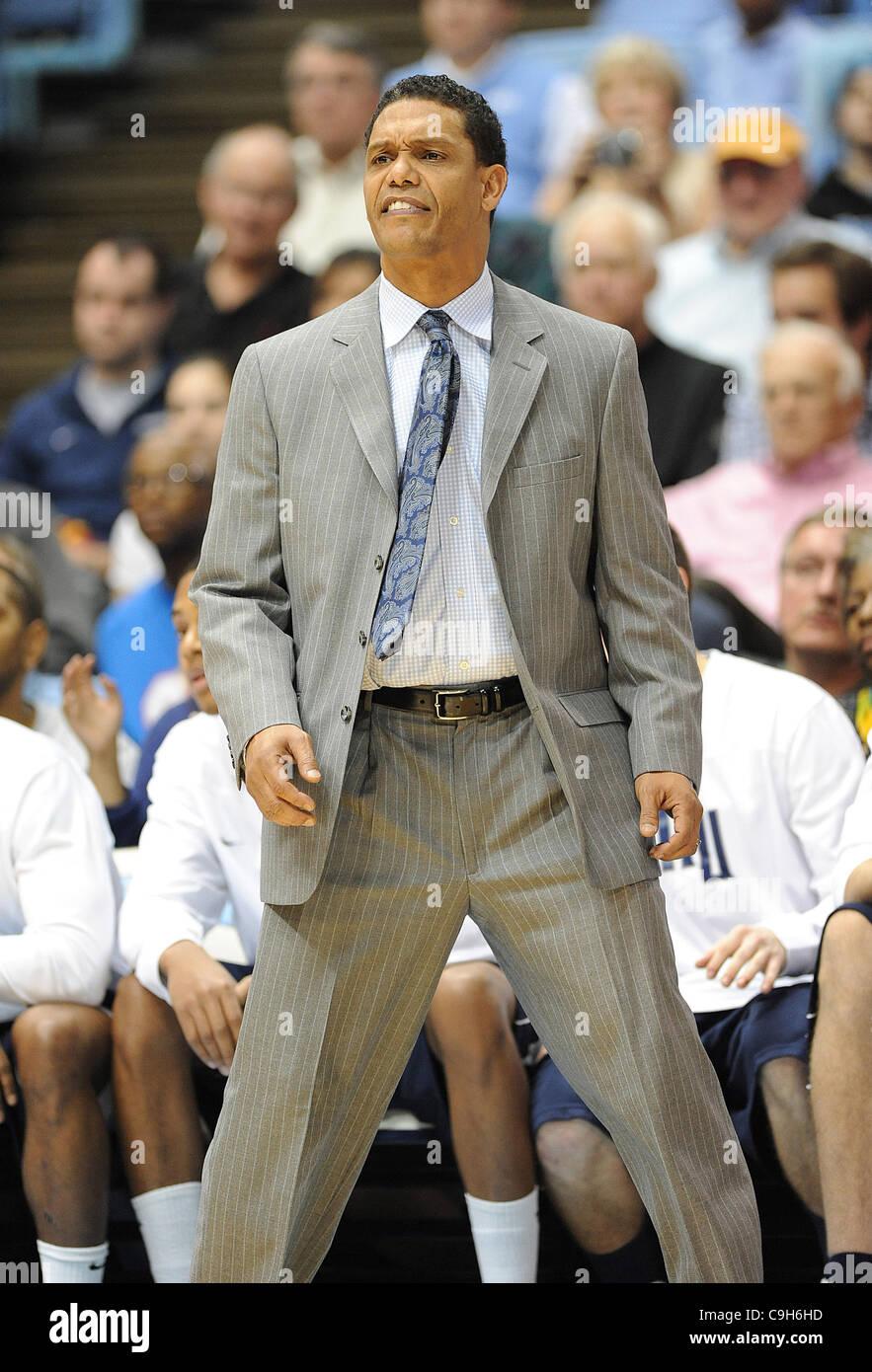 Jan. 01, 2012 - Chapel Hill, North Carolina; USA -  Monmouth Hawks Head Coach and Former Carolina Tarheel KING RICE - Stock Image