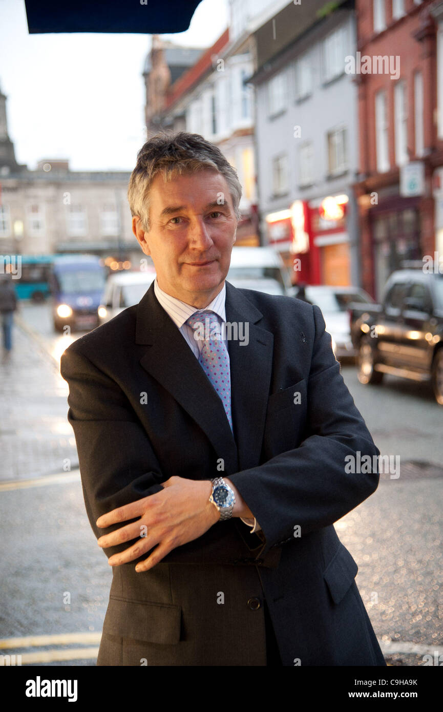 January 4 2012. CYRIL BAKER, owner of The Jewellry House, Terrace Road Aberystwyth, who welcomes the plans to solve - Stock Image