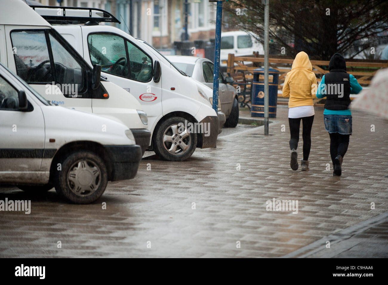 January 4 2012. Cars parked illegally on the streets of Aberystwyth Wales UK, . The town has been without traffic - Stock Image
