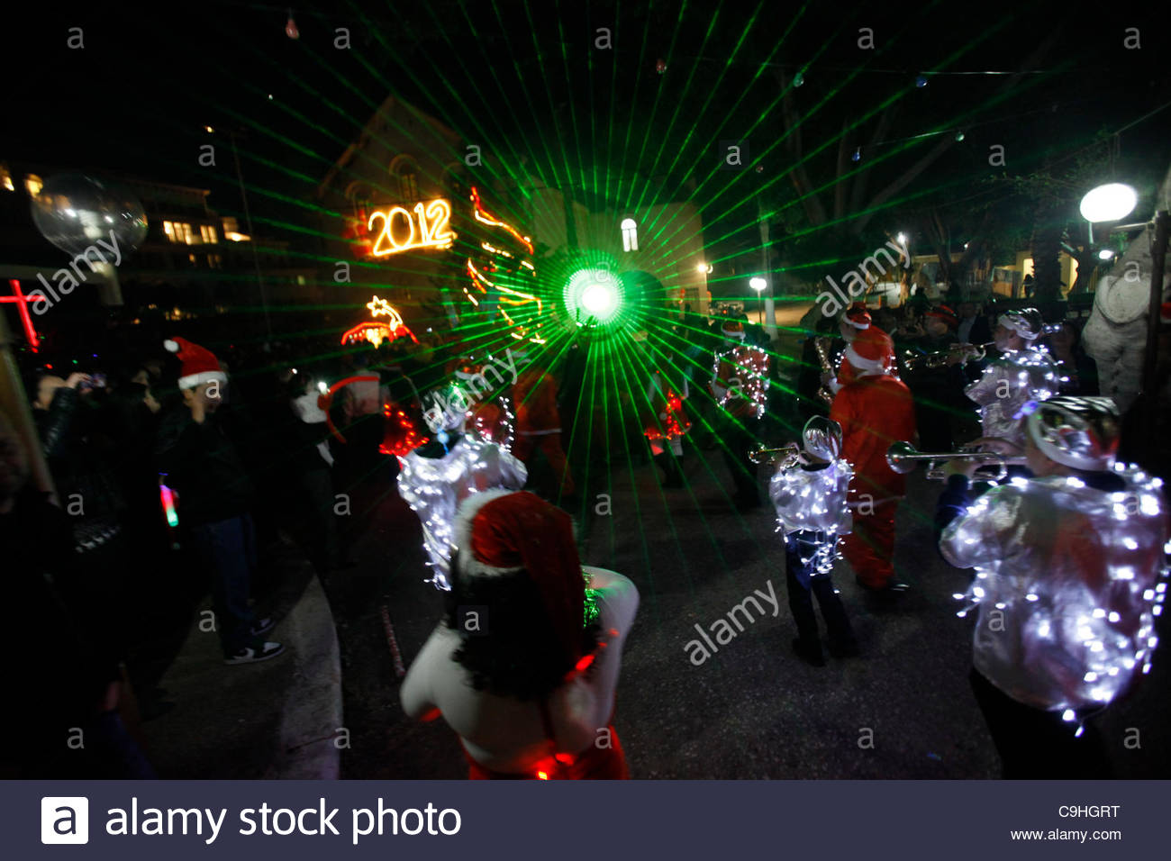 Israeli Arab Christians participate in a traditional Orthodox Christmas parade in Jaffa Israel - Stock Image