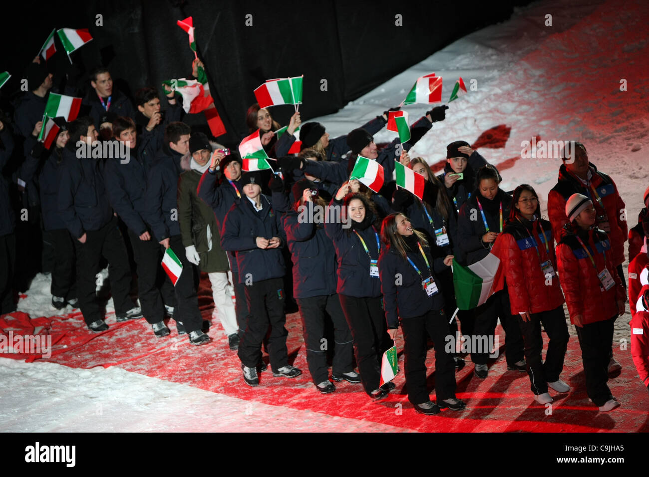 13.01.2012.  Innsbruck, Austria. Italian delegation during the Winter Youth Olympic Games Opening Ceremony - Stock Image