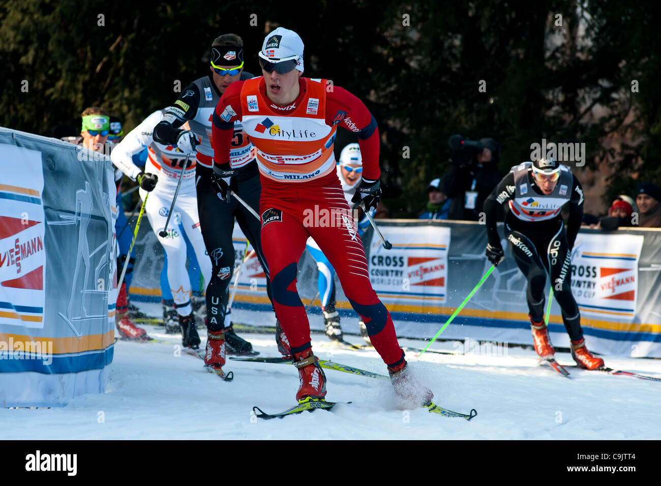 FIS Country Cross World Cup - Milan - Team Relay  staffetta sprint sempione  milano parco - Stock Image