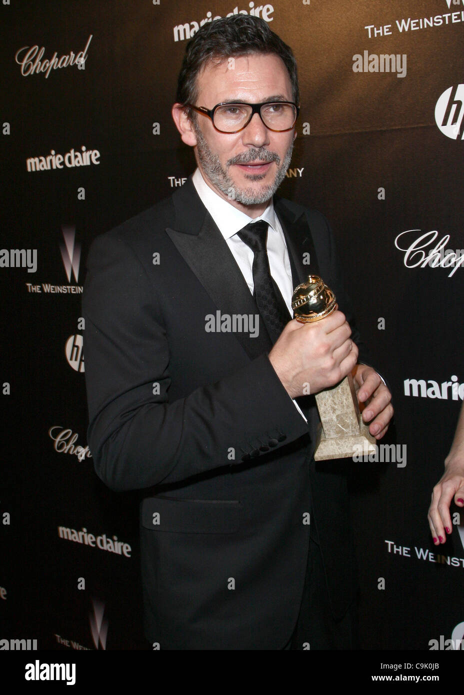 MICHEL HAZANAVICIUS WITH HIS GOLDEN GLOBE THE WEINSTEIN COMPANY 2012 GOLDEN GLOBES AFTER PARTY BEVERLY HILLS LOS - Stock Image