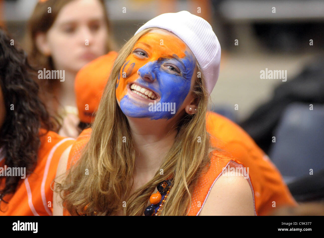 Jan. 16, 2012 - Syracuse, New York, U.S - A Syracuse student shows off her Orange pride before the game against - Stock Image