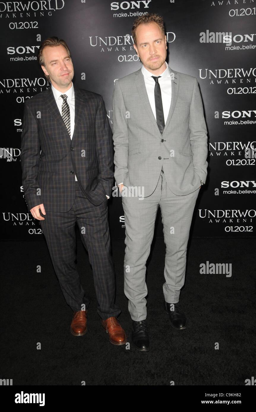 Jan. 19, 2012 - Los Angeles, California, U.S. - Mans Marland, Bjorn Stein Attending The World Premiere Of ''Underworld - Stock Image