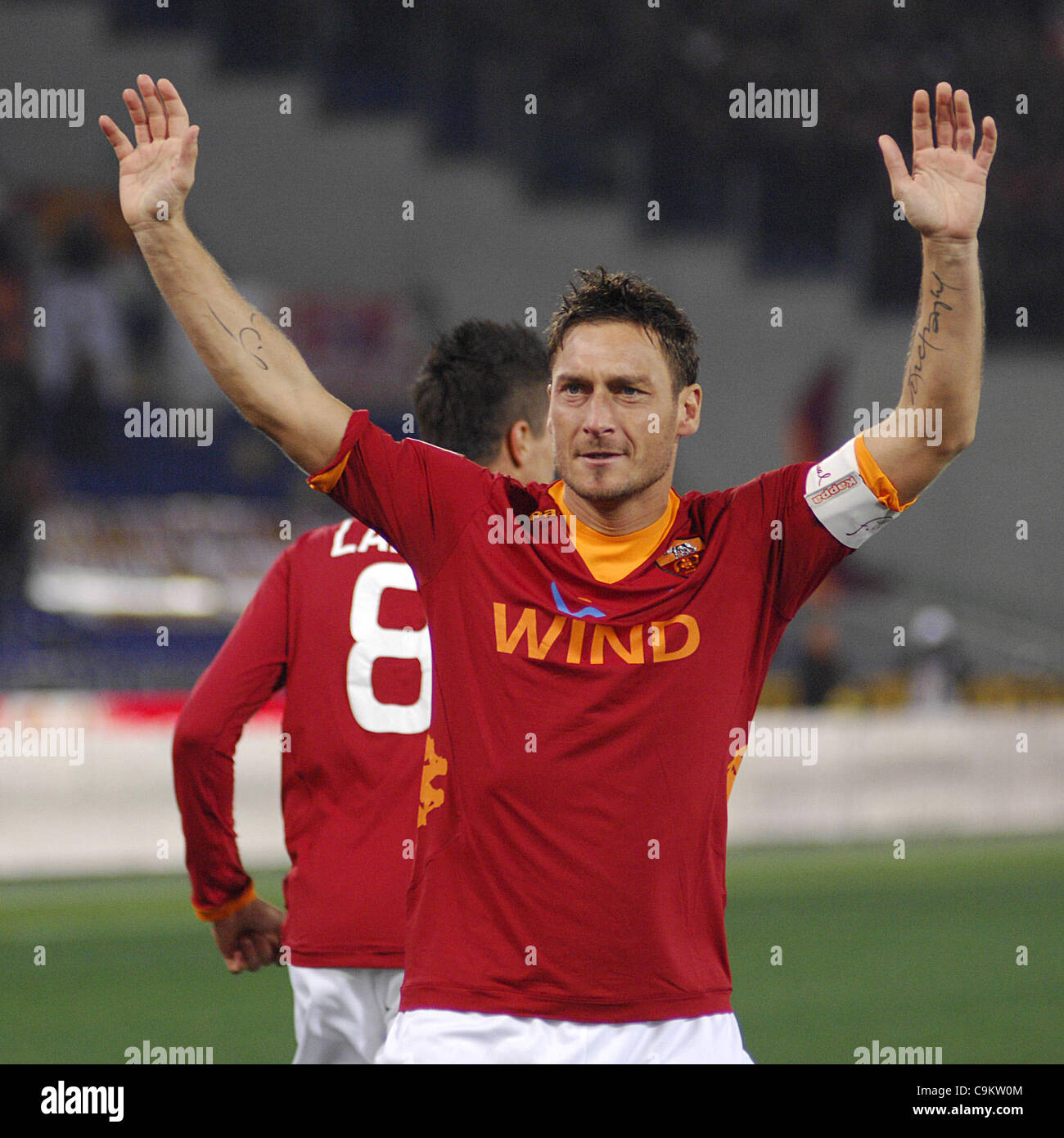 21.01.2012, Rome, Italy.   In action during the Serie A match between AS Roma vs Cesena, played in the Stadio Olimpico. - Stock Image