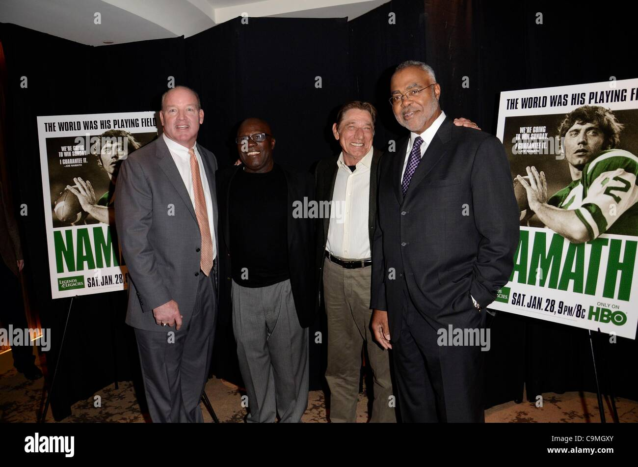 Marty Lyons, Emerson Boozer, Joe Namath, Richard Castor at arrivals for HBO Sports and NFL Films' Premiere of - Stock Image