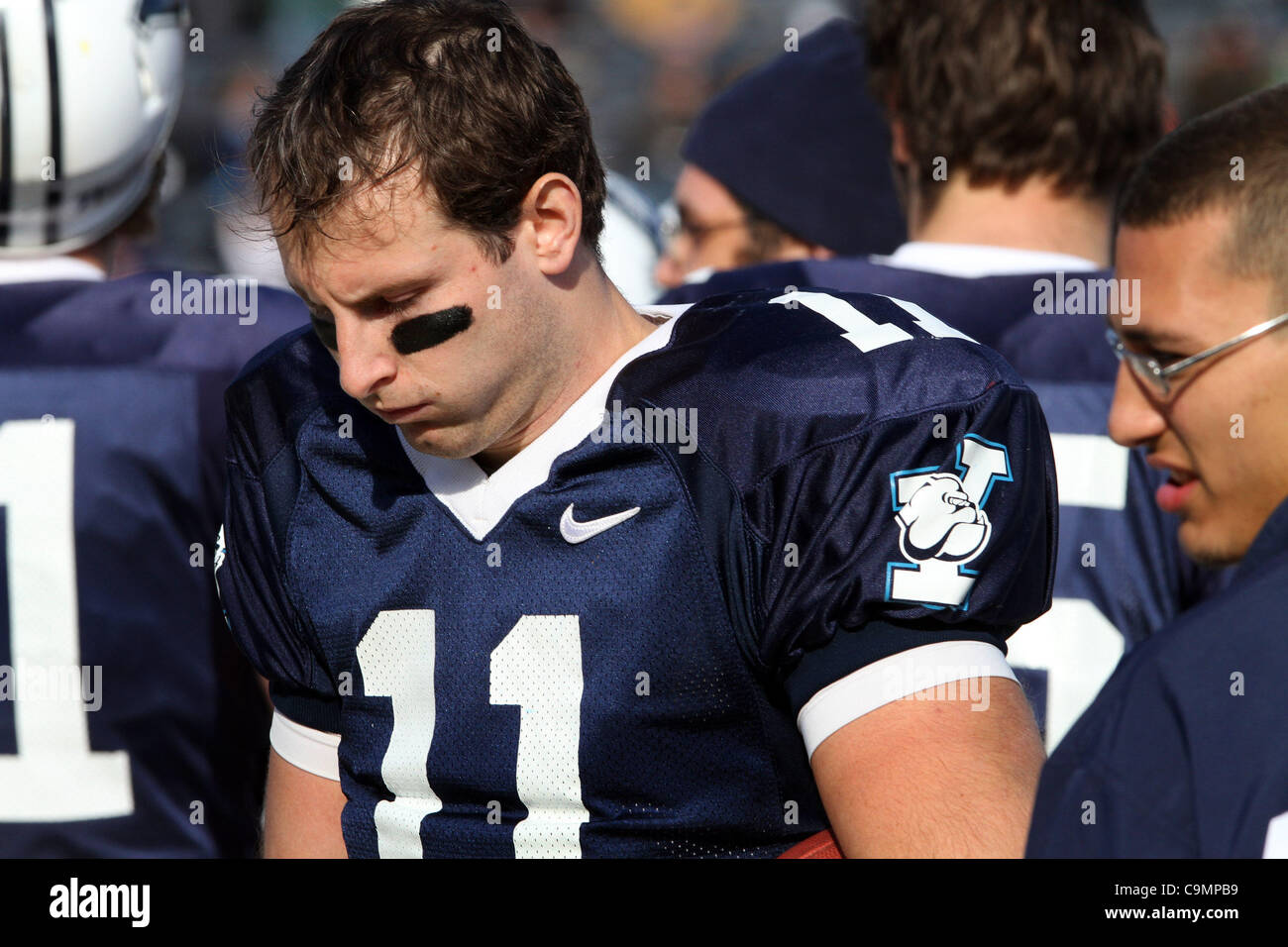 Nov. 19, 2011 - New Haven, CT, U.S. - Yale quarterback #11 PATRICK WITT after throwing an interception during the - Stock Image