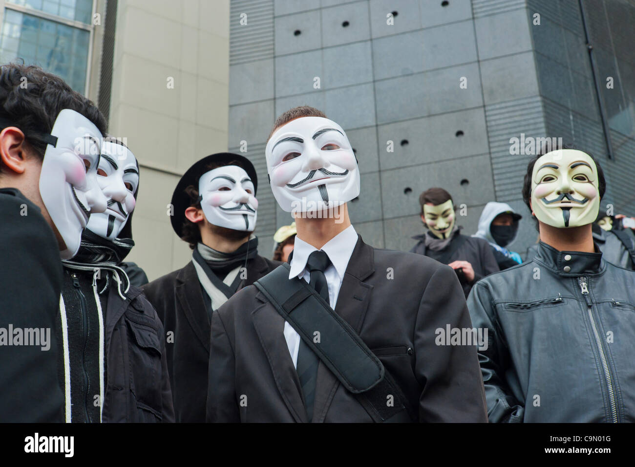 Anonymous Protests Against Internet Anti-Piracy Law, ACTA (Anti-Counterfeiting Trade Agree-ment), that threatens - Stock Image