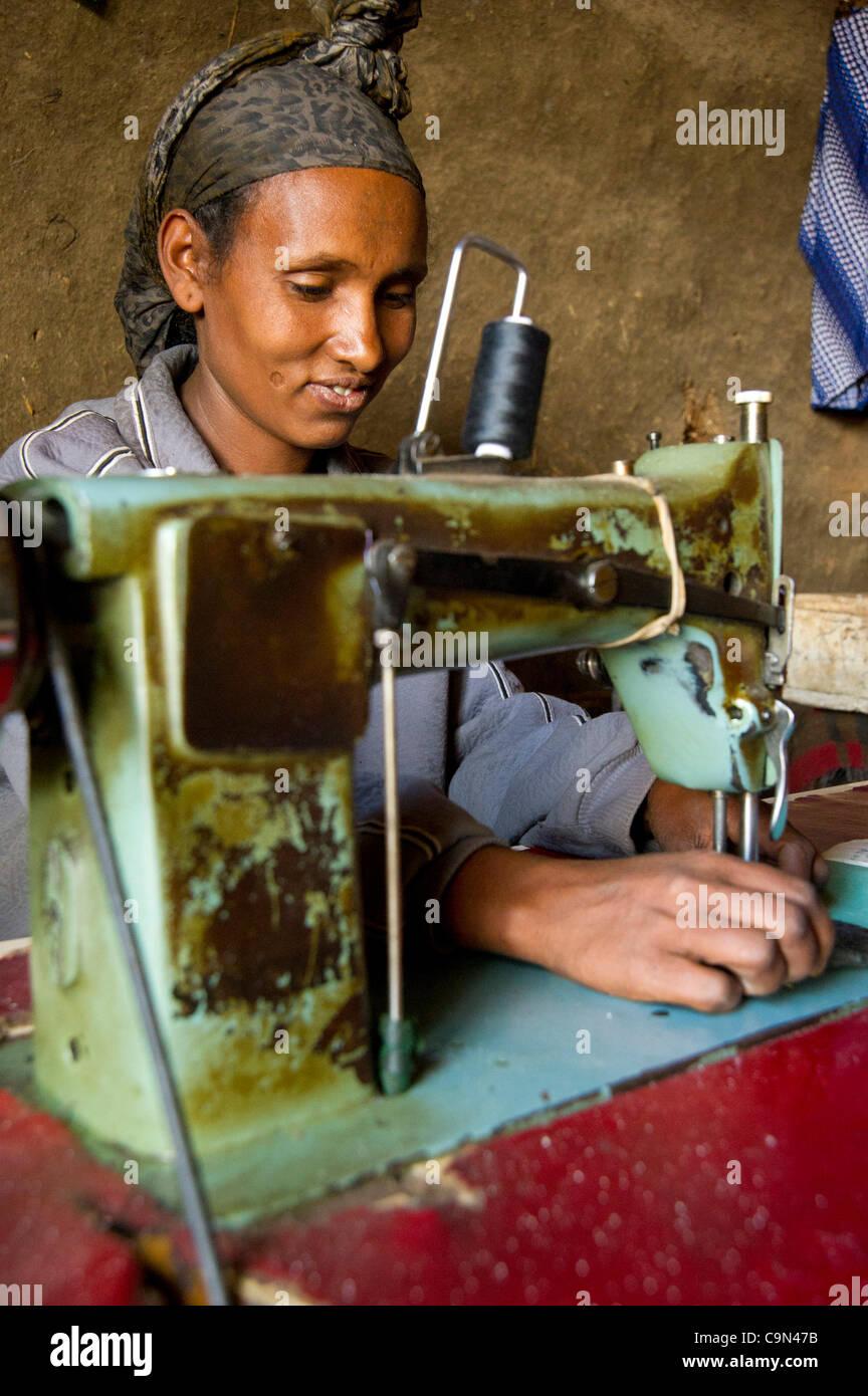 Jan. 19, 2012 - Farta (Woreda, South Gondar (Zone, Ethiopia - January 19, 2012, Checheho, Ethiopia - A seamstress - Stock Image