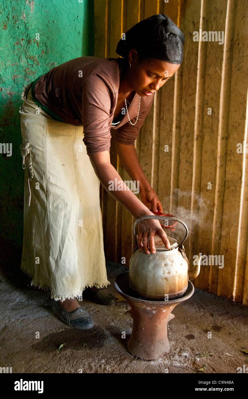 Jan. 19, 2012 - Farta (Woreda, South Gondar (Zone, Ethiopia - January 19, 2012, Checheho, Ethiopia - A restaurant - Stock Image