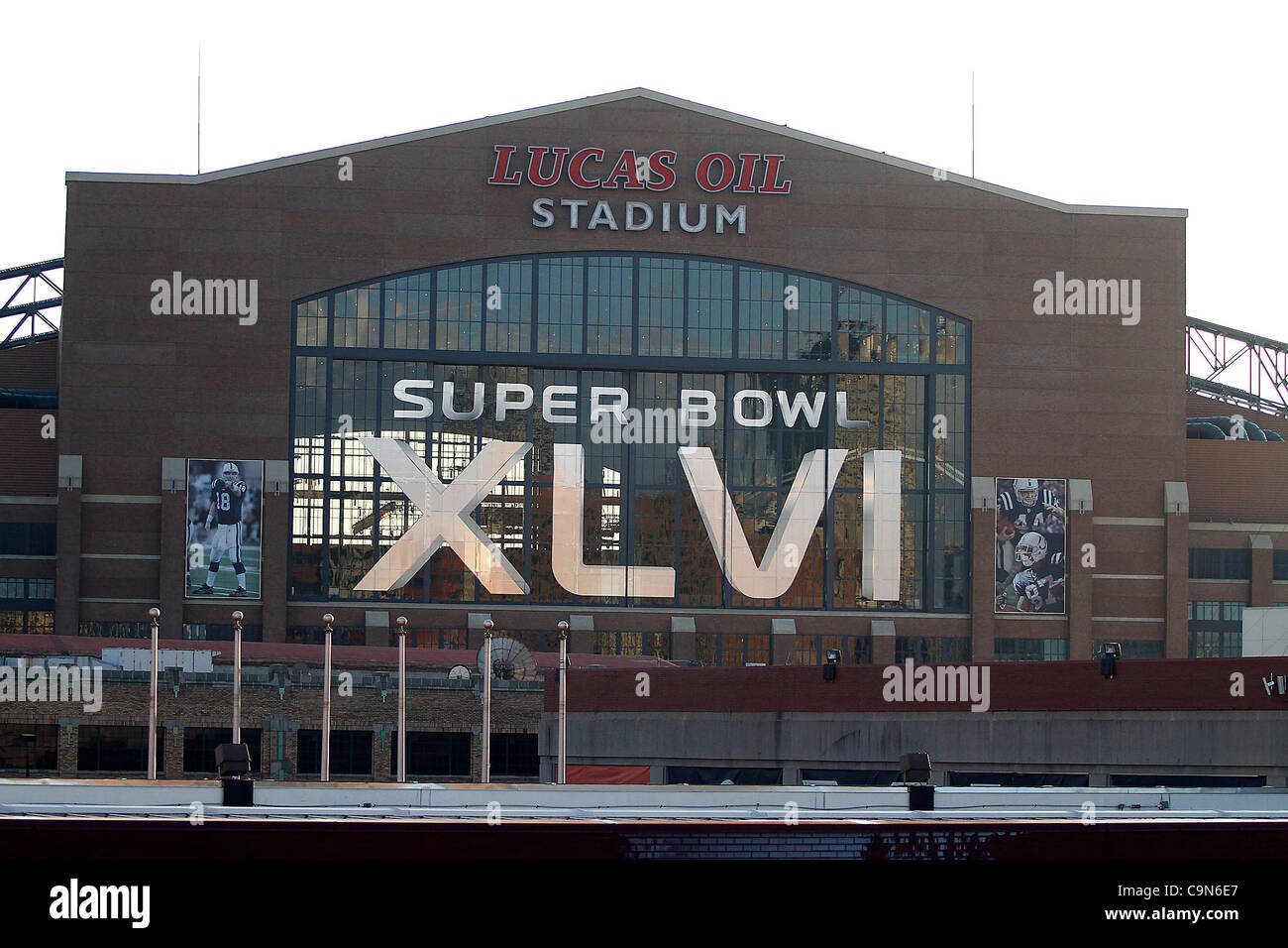 Lucas Oil Stadium is wearing the logo of Super Bowl XLVI as the game between the New England Patriots and the New - Stock Image