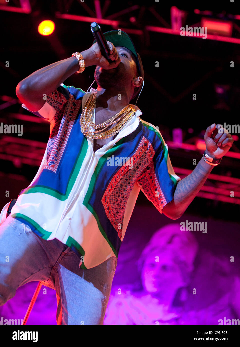 Kanye West performing at the Big Day Out, Melbourne, January 30, 2012. - Stock Image