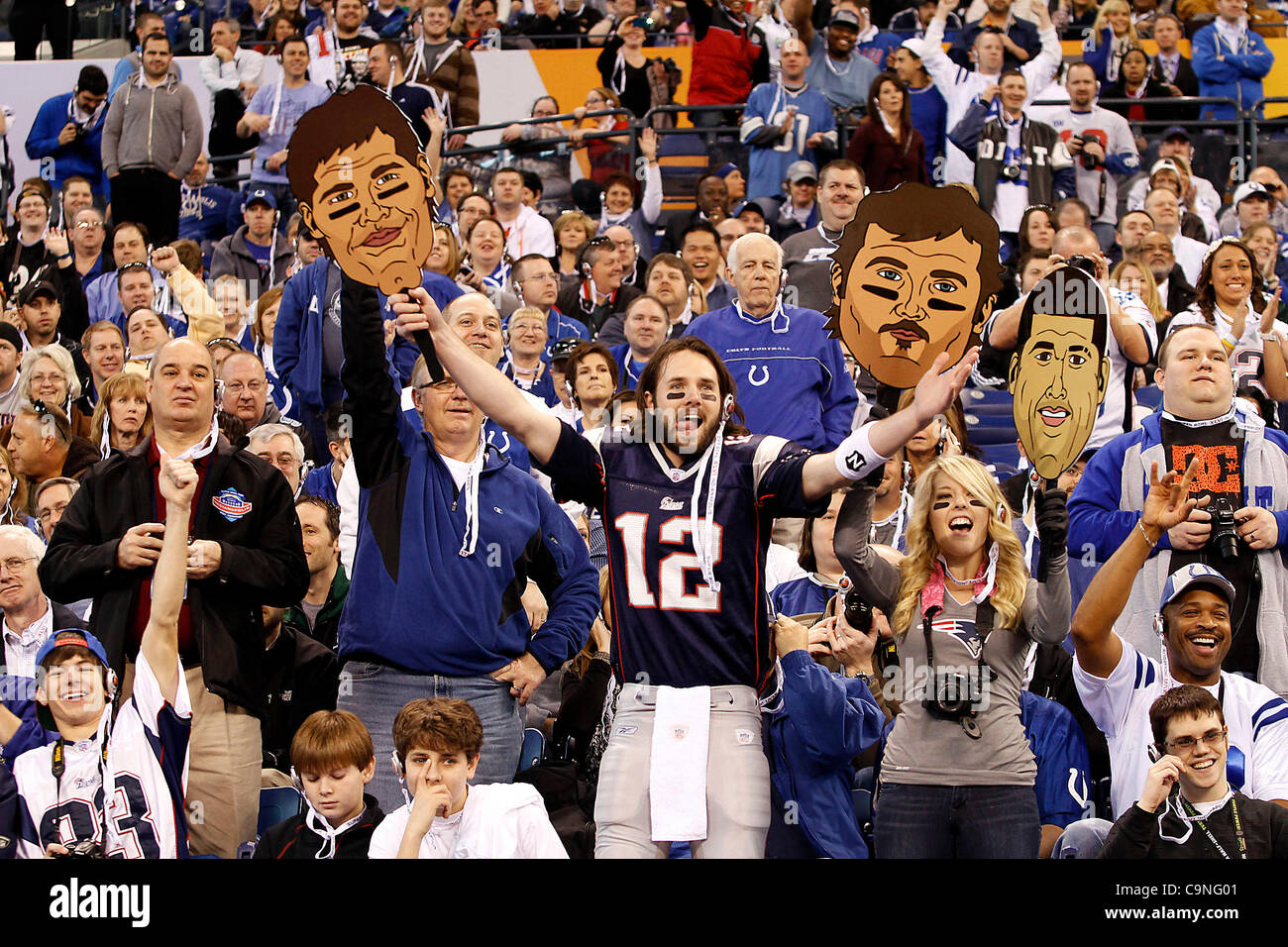 Spectators were allowed into Lucas Oil Stadium for the first time during media day for Super Bowl XLVI on Tuesday Stock Photo
