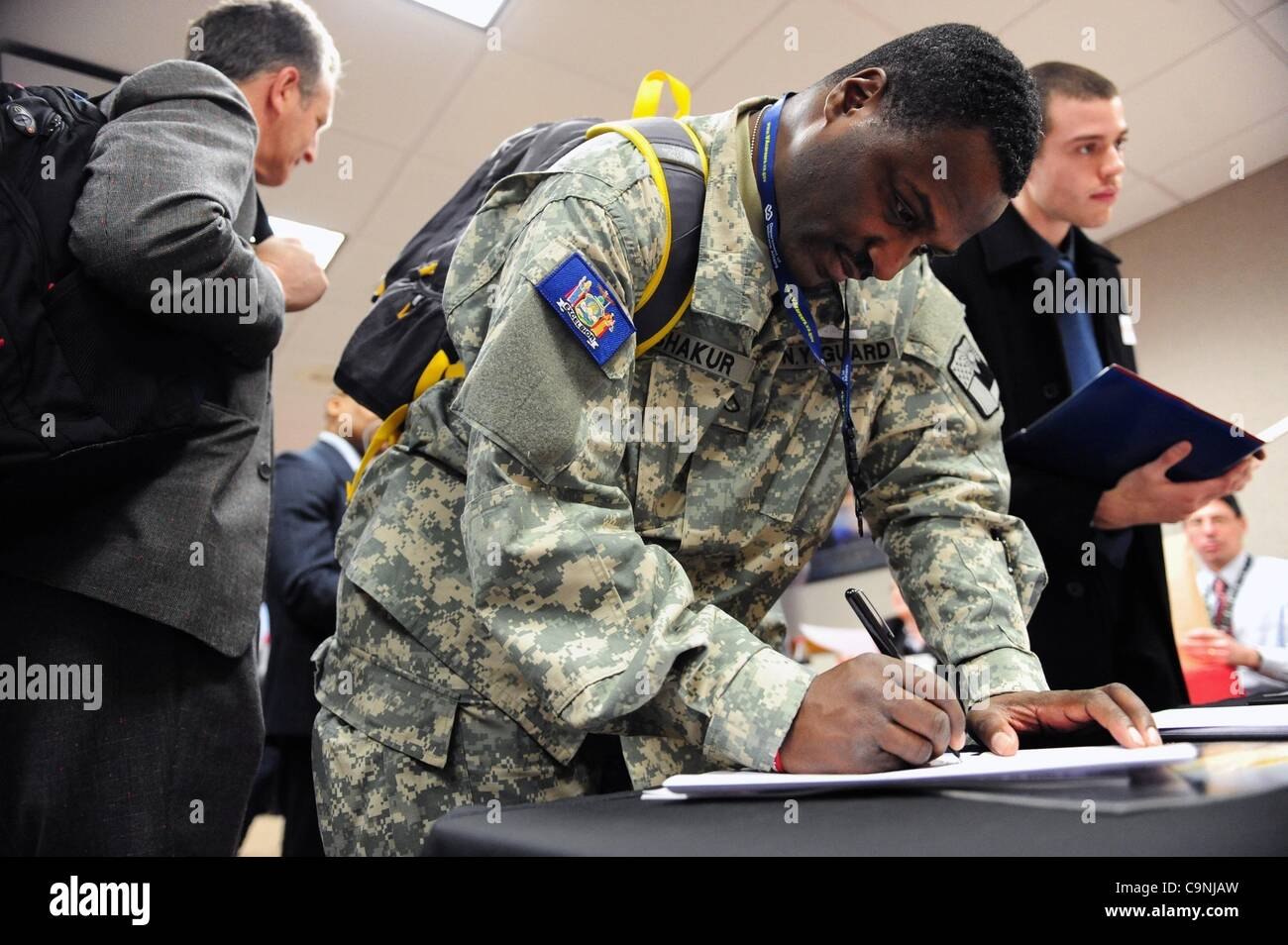 Feb. 1, 2012 - Manhattan, New York, U.S. - Yahya Shakur, 43 of Queens, a member of the NY Guard, the Vocational - Stock Image