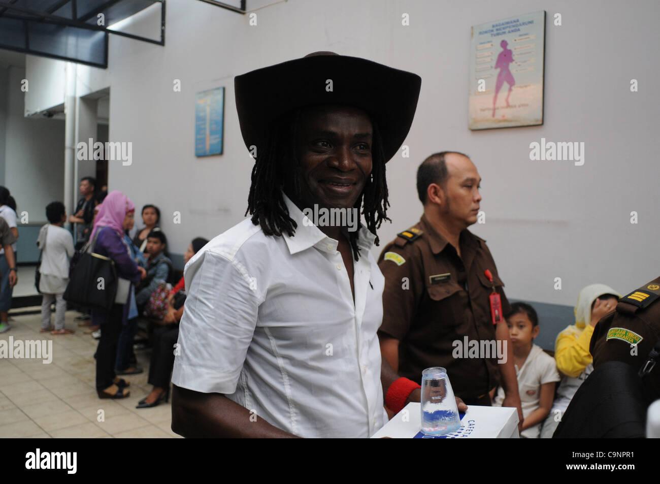 Feb. 1, 2012 - Jakarta, Indonesia - A Mozambique  citizen, ATALIAT JOSES GUAMBE   the defendant smuggler of Methamfetamine Stock Photo