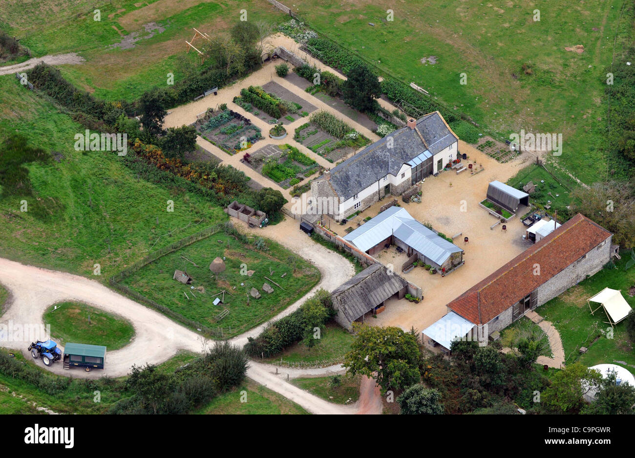 File picture (2009) aerial view of Hugh Fearnley-Whittingstall's River Cottage which was 'severely damaged' - Stock Image