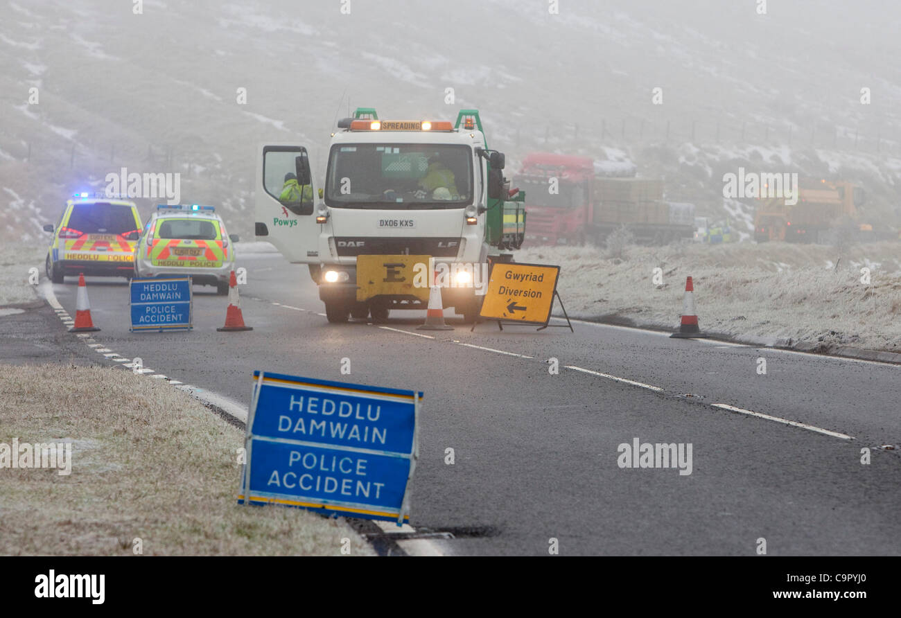 10.02.12 The scene at a collision between a car and lorry in which a young man died on the A470 at the Storey Arms - Stock Image